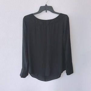 Ann Taylor Black Long Sleeve Blouse- Small
